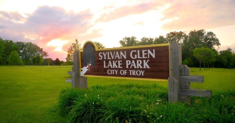 Beautiful sunset at the Sylvan Glen Lake Park in Troy Michigan
